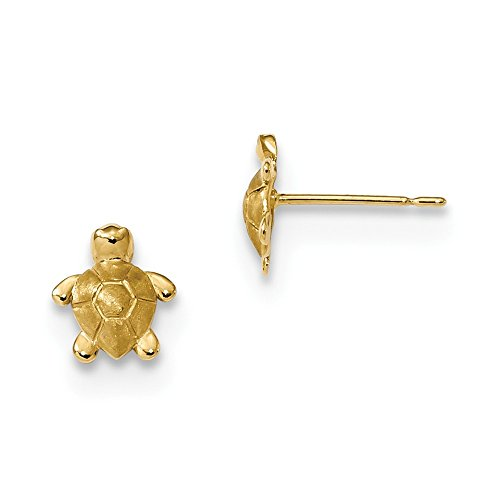 14k Gold Polished Turtle (14k Yellow Gold Childrens Satin and Polished Turtle Post Earrings 8x7 mm)