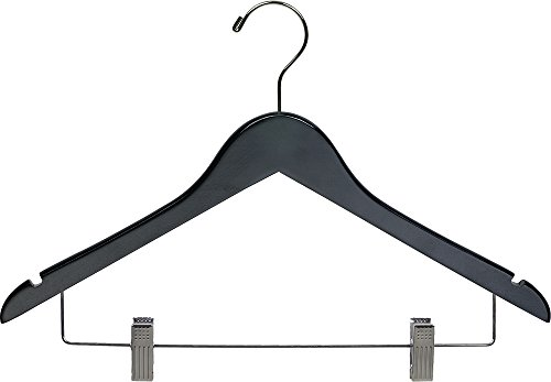 Black Wood Combo Hanger w/ Adjustable Cushion Clips, Box of 50 Space Saving 17 Inch Flat Wooden Hangers w/ Chrome Swivel Hook & Notches for Shirt Jacket or Dress by The Great American Hanger Company (Chrome Hook Swivel)
