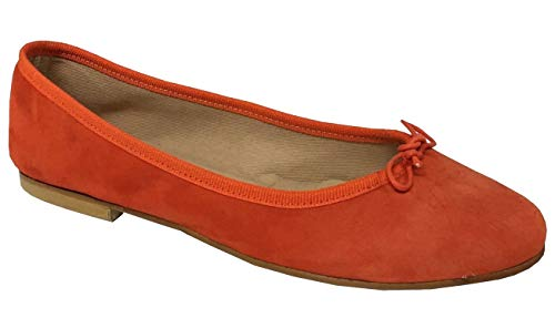 Italy Daim Talon Doublé Made Orange Valeria Cuir Upper Tissu Modèle 1 Cm Ballerine Femme Class In 100 Coton En gnxxvTSqf