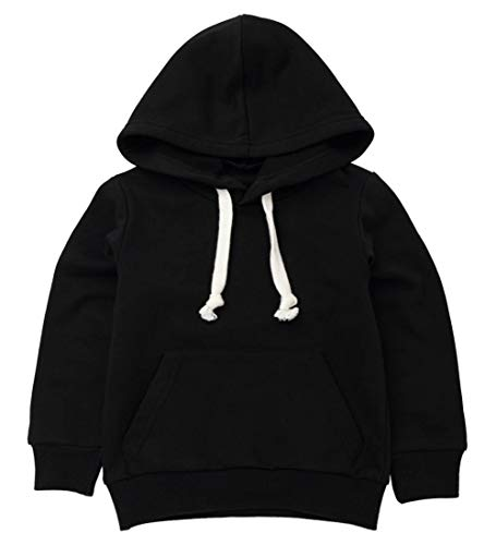 Baby Sweatshirt 1-7 Years Old,Toddler Boy Girl Kids Autumn Winter Long Sleeve Solid Hooded Casual Tops Pullover (Black, 1-2 ()