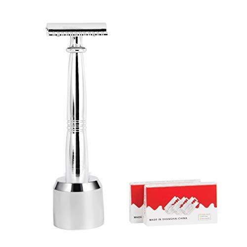 Grandslam Luxury Old Fashion Double-Edged Safety Razor Plating Base Long Handle Shaving Gift Set+10 Free Blades (Sliver-1) -