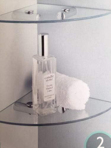 Estante de cristal para esquina de dos baldas con fijación a la pared para baño o bañera