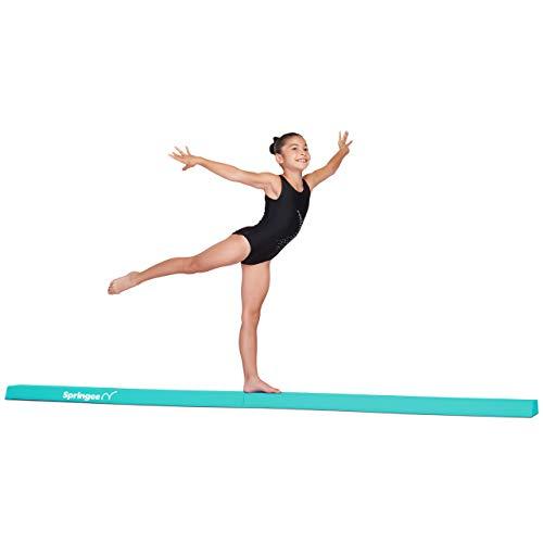 Springee 9ft Balance Beam - Extra Firm - Vinyl Folding Gymnastics Beam for Home - Teal
