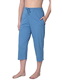 Beverly Rock Women's Capri Jersey Knit Pajama Lounge Pant Available in Plus Size