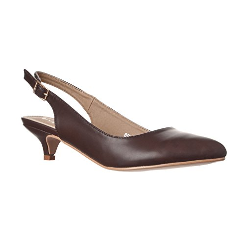 Riverberry Women's Bella Pointed Toe Sling Back Low-height Pump Heels, Coffee PU, 10 Brown Leather Slingback