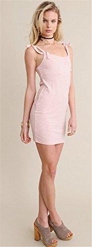 Moda Sin Mangas Lazo Lazada Shoulder Espalda al Aire Ribbed Rib Knit Minivestido Mini de Corte Bodycon de Tubo Ajustado Lápiz Dress Vestido Rosa Rosa