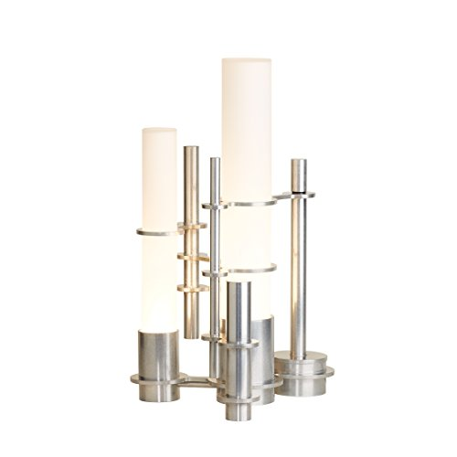 (Hubbardton Forge 277820-1002 Cityscape Table Lamp, Opal Glass Shade Vintage Platinum Finish)