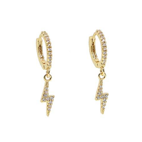ATJMLADYJEWELRY Delicate danity Lightning Charms cz Dangle Charm Earring Simple Classic Jewelry