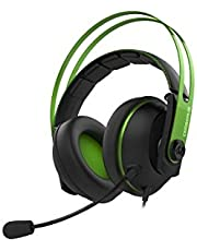 Cerberus V2 gaming headset with 53mm Asus Essence drivers, stainless-steel headband (Green)
