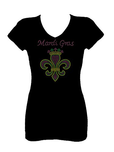 Mardi Gras Fleur De Lis Rhinestone V Neck Short Sleeve Tee Shirt (L) Black