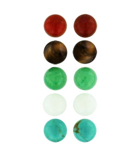 .925 Sterling Silver Gem Stone Ball Stud Earrings 6mm, 8mm (5 Pairs) (6mm Green Jade-White Jade-Turquoise-Carnelian-Tiger Eyes) (Tigers Earrings Eye Jasper)