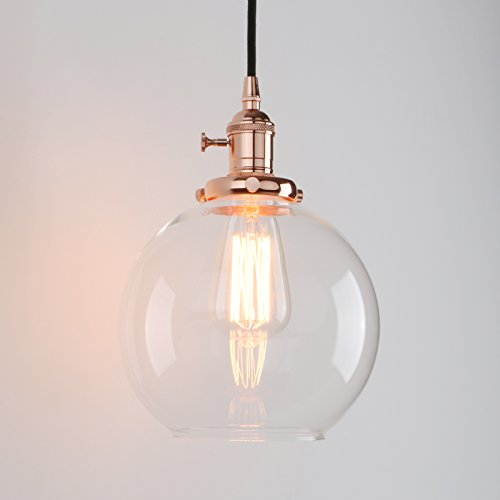 Permo 1-Light Vintage Industrial Clear Glass Hanging Pendant Light with 7.9