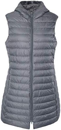 ELFJOY Women's Long Down Vest Zipper Lightweight Puffer Jackets with Hood