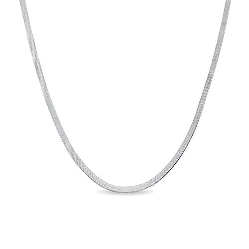 Verona Jewelers Sterling Silver 2.5MM Herringbone Flat Snake Magic Chain -925 Vintage Shiny Chain for Men and Women (9 inch) ()