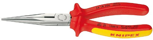 Knipex 2618200SBA Long Nose Pliers with Cutter, 1000 Volt Rated, 8 Inch by KNIPEX Tools