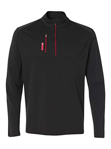 adidas A195 Mens Pure Motion 1 By 4-Zip with Textured Inserts - Black & Bold Red, 2XL