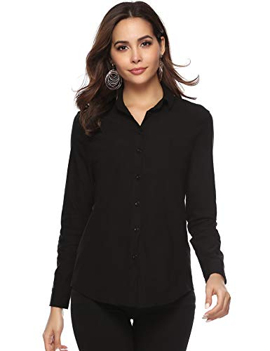 Abollria Women's Blouse Long Sleeve Button Down Plain Work Office Shirts Blouse with Stretch Black White