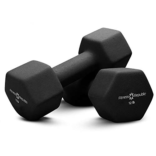 Fitness Republic Neoprene Dumbbell Sets of 2, 12 Pounds Set Non-Slip, Hex Shape, Free weights set for Muscle Toning, Strength Building, Weight Loss - Portable Weights for Home Gym Exercise, 12lb Black