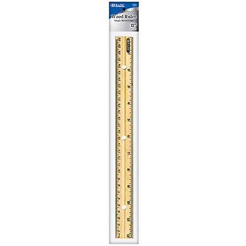 BAZIC 12'' (30cm) Wooden Ruler, Case Pack of 288 by Bazic