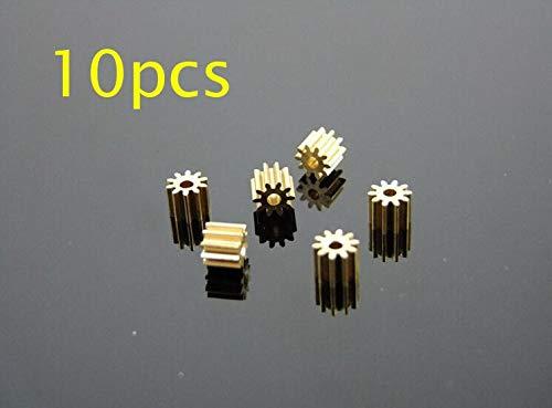 Hockus Accessories 10 Pcs 102A Brass Gear 10T 0.5M Metal Gear Pinion Fit 2mm Shaft OD 6mm for DIY RC Car/Airplane/Boat Models