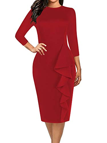 - oxiuly Women's 3/4 Sleeve Round Neck Casual Stretchy Bodycon Sheath Knee-Length Pencil Autumn Work Dress OX055 (XL, Wine Solid)