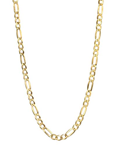 Pairfection 14K Yellow Solid Figaro Gold with Lobster Clasp - 3.20 MM Wide 26 Inches Long Necklace -  Italian Gold