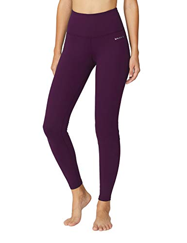 Baleaf Women's High Waist Yoga Pants Non See-Through Fabric Dark Magenta Size XXL