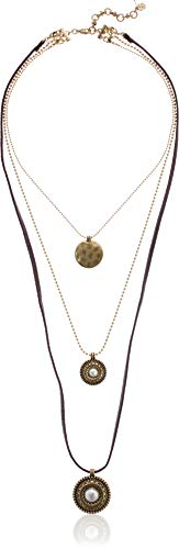 Lucky Brand Women's Etched Coin Pearl Leather Layer Necklace, Gold, One Size