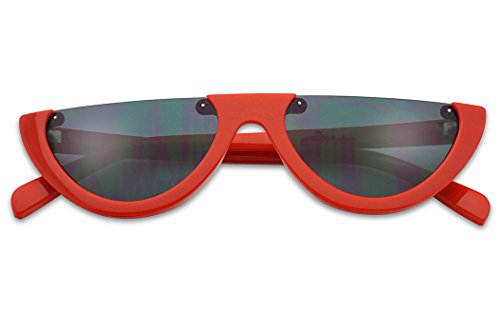 SunglassUP Super Small Half Moon 90s Cateyes Sunglasses (Red Frame | - Glasses Style 1990s