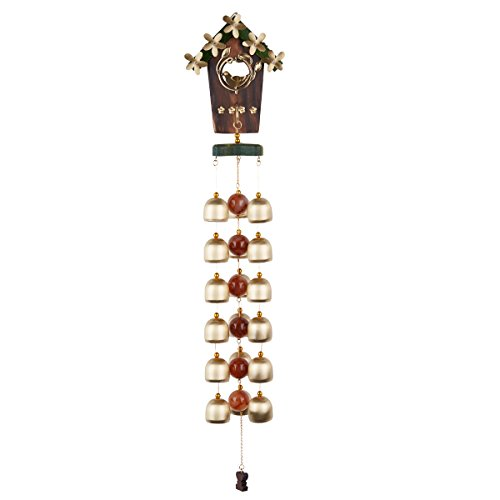 "Agirlgle 18 Pieces Copper Bell 20""Wind Chime for Home,Patio, Garden, Indoor, Outdoor Decoration with Beautiful Sound Cute Birds and Nest Wooden Yard Windchime (Copper Make Wind Chimes)"
