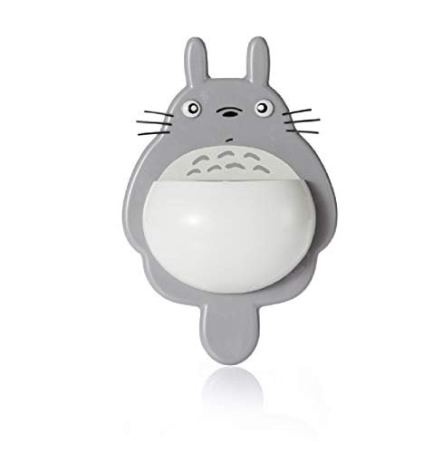 Chige Cute Cartoon Totoro Kids Wall Mirror Suction Cup Mount Toothbrush Holder Container Box Organizer Pocket Bathroom Stuff Mirror