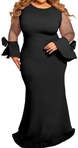 E-Scenery Plus Size Dress Fashion Women Casual Long Sleeve Solid Mesh O-Neck Patchwork Dresses