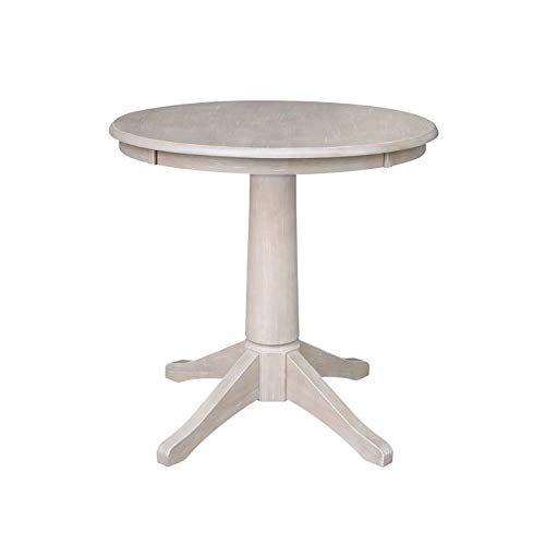 International Concepts K09-30RT-27B 30'' Round Top Pedestal Table-28.9'' H, Washed Gray Taupe by International Concepts