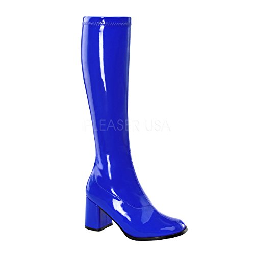 Funtasma by Pleaser Women's Gogo-300 Boot,Navy Blue Stretch Patent,10 M