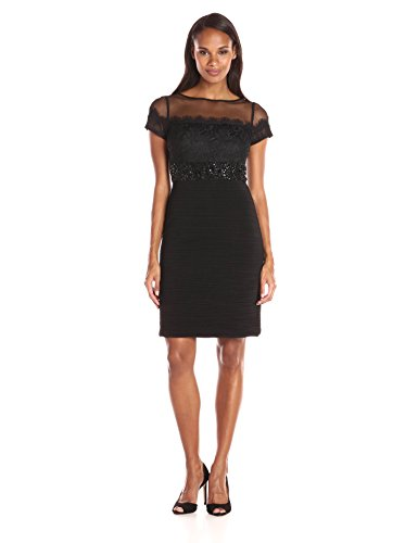 JS Boutique Women's Short Rouched Jersey Dress W/Mesh and Lace Bodice and Beaded Waist, Black, 4 (Js Boutique Beaded Mesh Dress)
