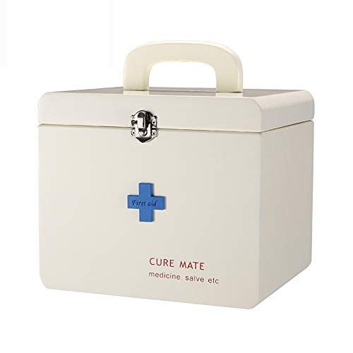 (YD Medical box - MDF material, simple wooden double layer tier storage portable portable durable environmental protection non-toxic safety, household medicine box health box medicine storage box, offi )