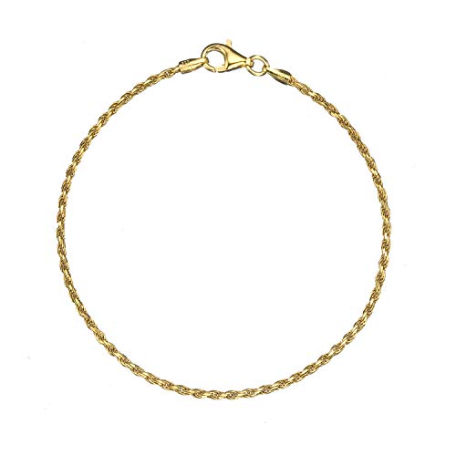 18K Gold Flashed Sterling Silver 1.6mm Italian Diamond Cut Twisted Rope Chain Anklet - ()
