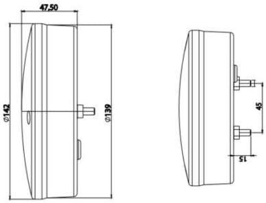 flexzon 2x Slim thin LED rear round hamburger reverse white lights tractor trailer lorry