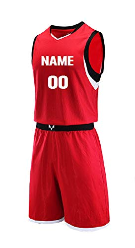 Personalized Basketball Jersey Sportswear Team Uniforms 2 Piece Set. Front & Back Name/Number. V Neck. (red)