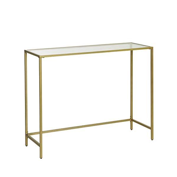 VASAGLE Table Console, Table d'entrée, Bout de canapé, Dessus de Table en Verre trempé, Cadre métallique, Robuste, Pieds…