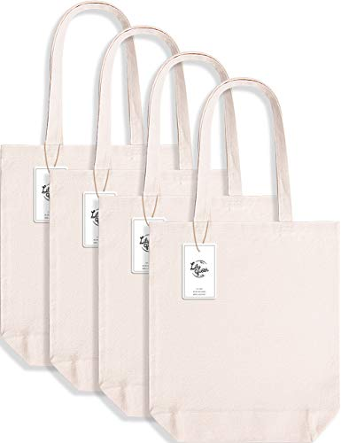 Lily Queen Cotton Canvas Tote Bag Crafts Cloth Shopping Bags Reusable Grocery Bags Washable with Flat Bottom 15 x 13 x 4 Cream (4 Pack)