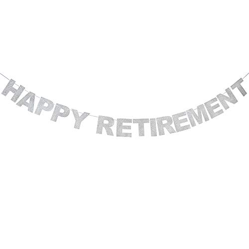Happy Retirement Silver Glitter Bunting Banner Celebrate The Legend Finally Farewell Party Sparkly Decoration Supplies.