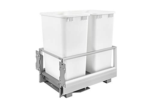 Rev-A-Shelf - 5149-2150DM-211 - Double 50 Qt. Pull-Out Brushed Aluminum and White Waste Container with Rev-A-Motion