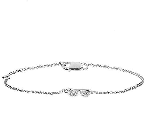 Or Blanc 14 ct Bracelet Diamant en forme de Lunettes, 0.04 Ct Diamant, GH-SI, 1.79 grammes.
