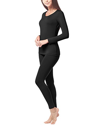 LAPASA Women's Lightweight Thermal Underwear Long John Set Fleece Lined Base Layer Top and Bottom L17 (Large, Black)