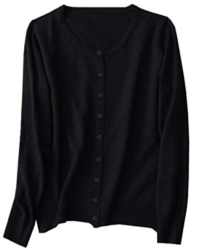 NAWONGSKY Women's Casual Plain Long Sleeve Crewneck Button Down Slim Cashmere Cardigan Sweater, Black, Tag XL = US L(12)