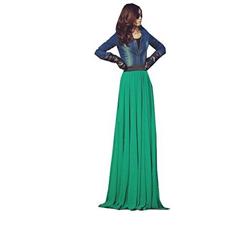WOMEN FULL SWEEP MAXI DOUBLE-LAYERED CHIFFON FULL LENGTH LONG SKIRT X-Large (Layered Chiffon)