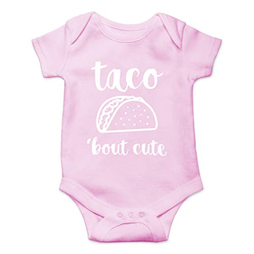 AW Fashions Taco Bout Cute - Funny Lil Adorable Tacos Mexican Food Lover - Cute One-Piece Infant Baby Bodysuit (Newborn, Pink)