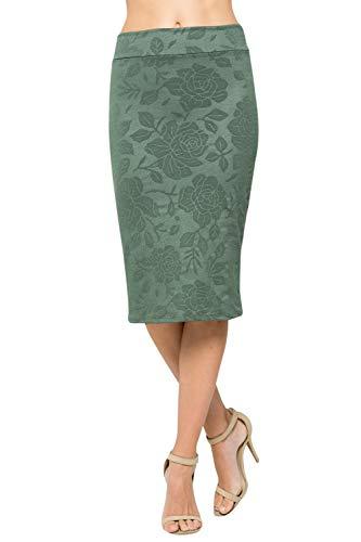 - Junky Closet Women's Comfort Stretch Pencil Midi Skirt (Small, 2936SKAW Green)