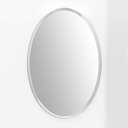 KOHROS Oval Beveled Polished Frameless Wall Mirror for Bathroom, Vanity, Bedroom (24